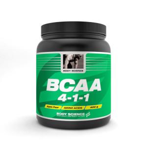 Body Science BCAA med dom tre grenade aminosyrorna leucin, isoleucin och valin i ett 4:1:1-förhållande