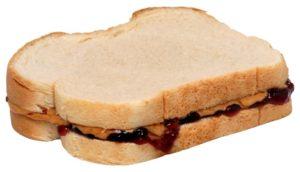 Smörgås med jordnötssmör och sylt
